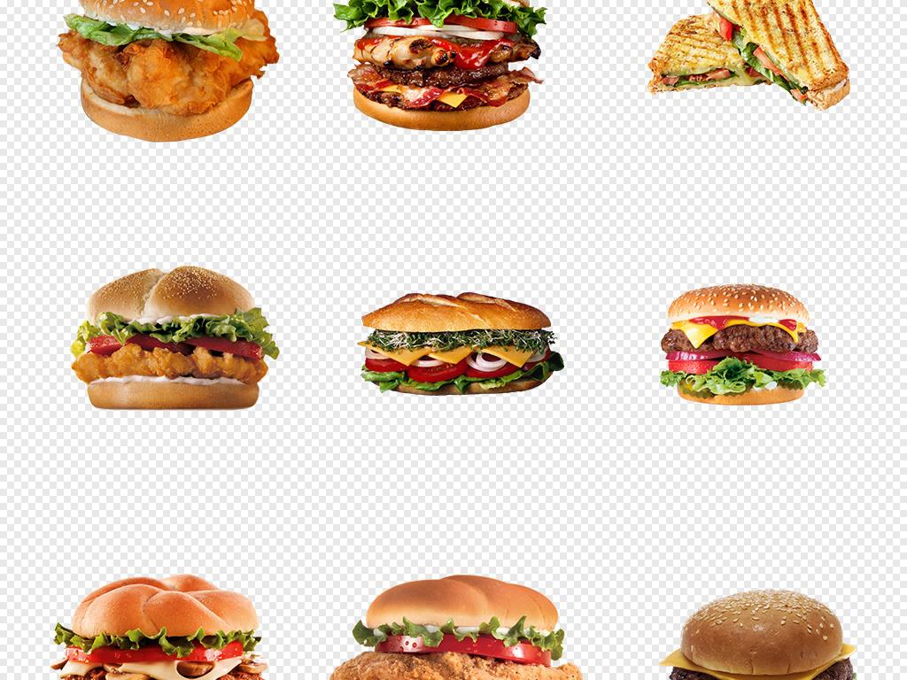 手绘麦当劳肯德基汉堡插图海报素材背景png