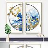 新中式大理石蓝色水墨花卉金色蝴蝶装饰画