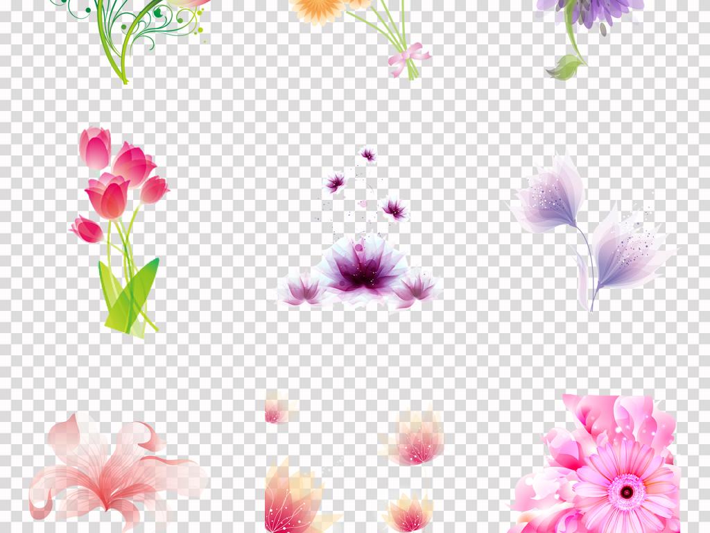 免抠元素 自然素材 花卉 > 唯美手绘清新花卉花朵梦幻花卉背景png素材