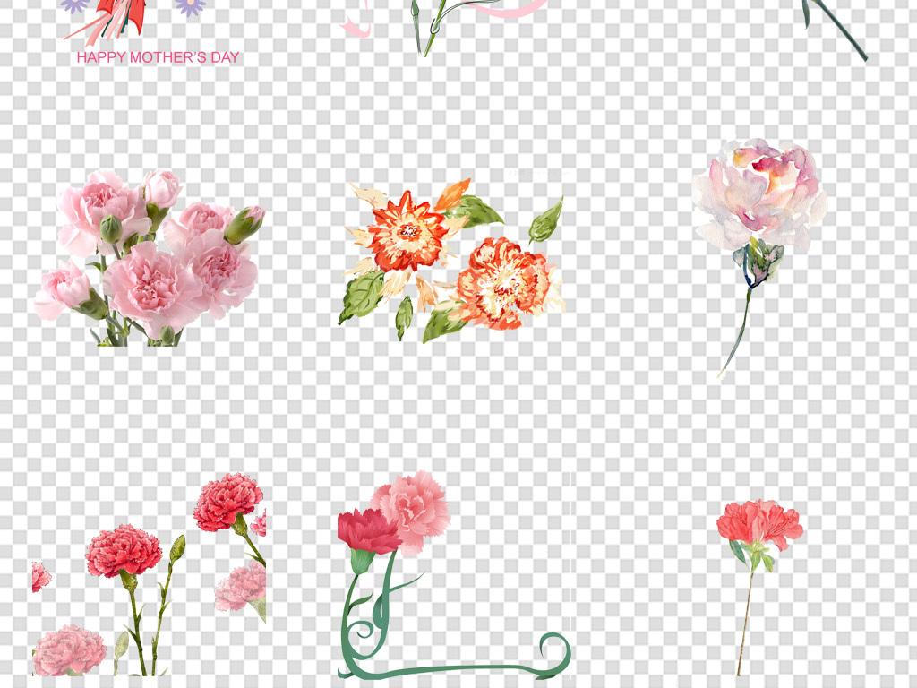 手绘唯美康乃馨母亲节花卉海报免扣png
