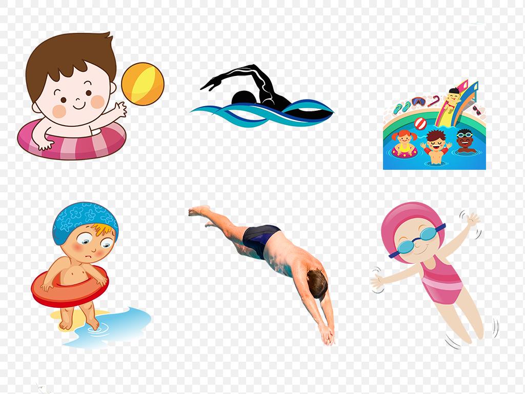 矢量健身儿童节幼儿孩子可爱姿势手绘海边沙滩海排球游泳