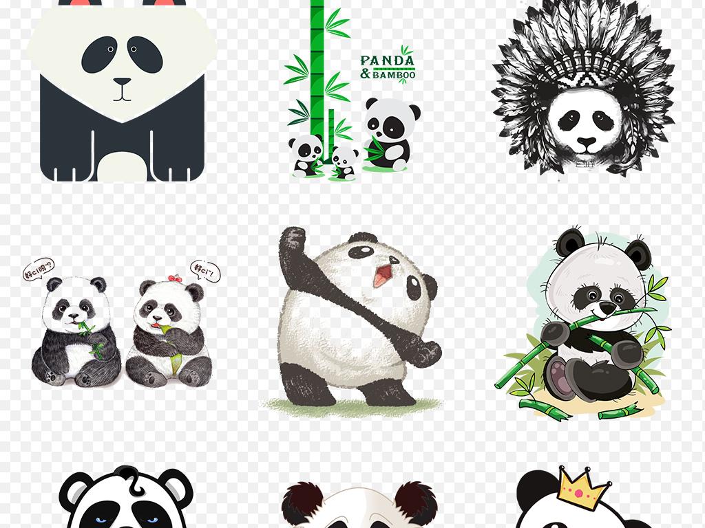 可爱手绘卡通熊猫海报素材背景图片png