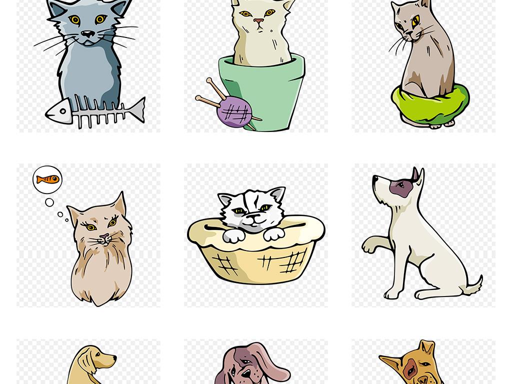 手绘彩色可爱卡通宠物狗和宠物猫png素材