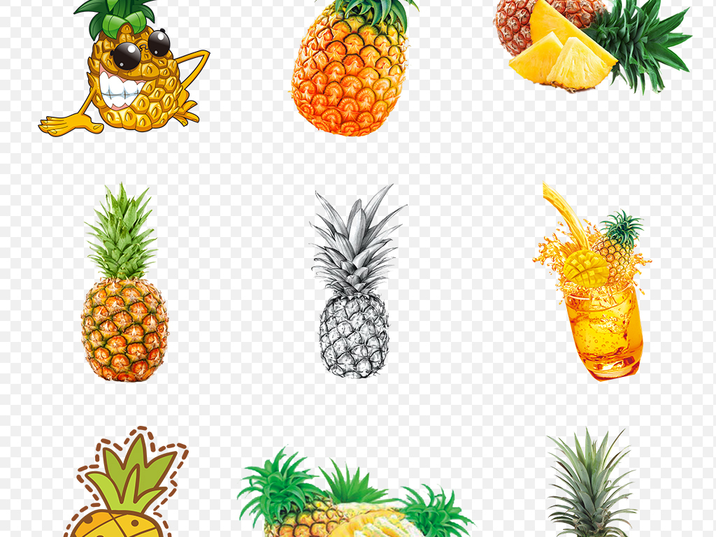 热带手绘菠萝卡通菠萝海报素材背景图片png