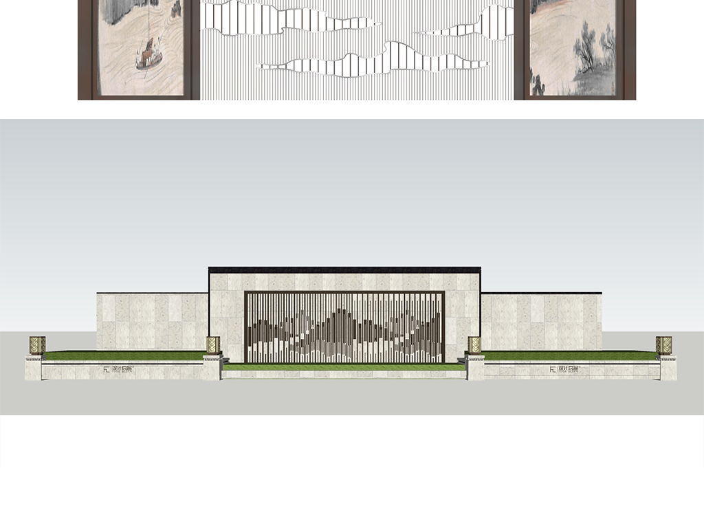 现代创意景墙模型设计图下载(图片132.66mb)_植物景观