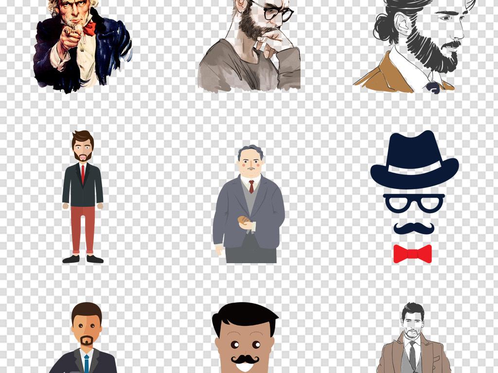 卡通男士男孩眼镜饮料外国戴眼镜线稿图案设计创意设计思考的大叔人物
