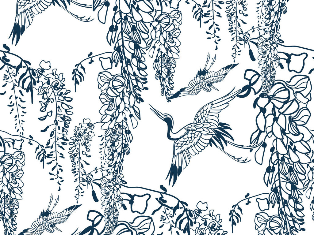 复古中国风植物仙鹤服装印花图案设计图片_高清素材(3
