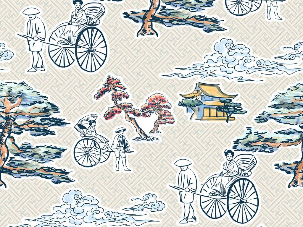 复古日式风风景服装印花图案设计图片_高清素材下载(.