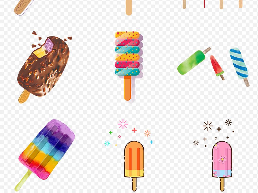 夏天手绘雪糕甜筒清凉冰爽海报素材背景图片png