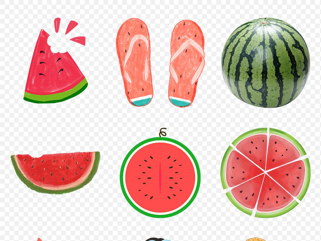 可爱西瓜吃西瓜大西瓜水果素材大红卡通水彩手绘冰爽夏日麒麟瓜素材背