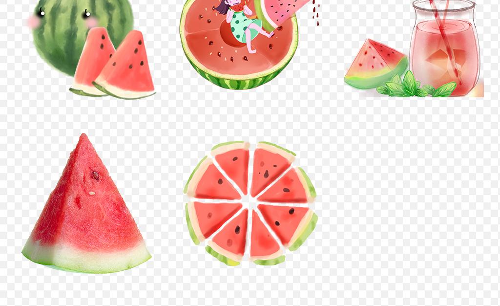 可爱西瓜吃西瓜大西瓜水果素材大红卡通水彩手绘冰爽夏日麒麟瓜素材