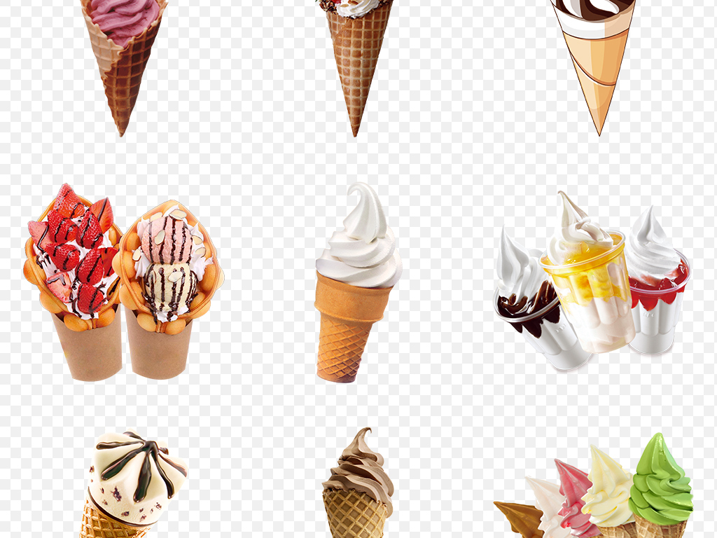 夏天手绘雪糕甜筒清凉冰爽海报素材背景png