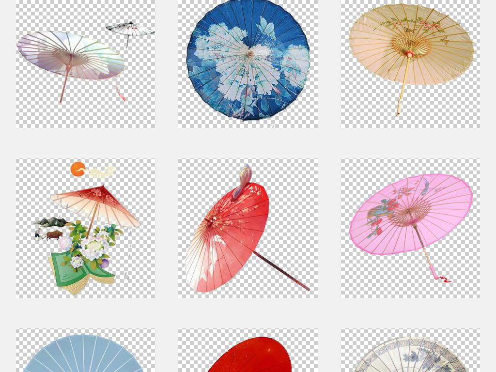 东方美女性古风油纸伞雨伞花伞png素材