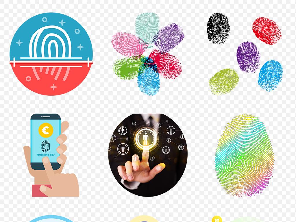 手绘彩色指纹微信扫描二维码海报素材背景图片png
