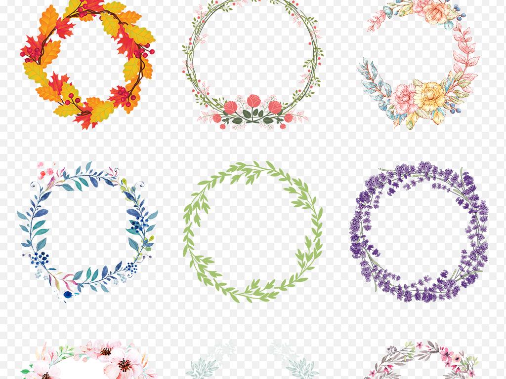 免抠元素 自然素材 花卉 > 彩色手绘小清新圆形花环边框海报素材背景