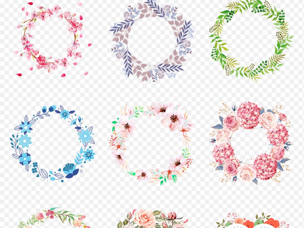 彩色手绘小清新圆形花环边框海报素材背景图片png