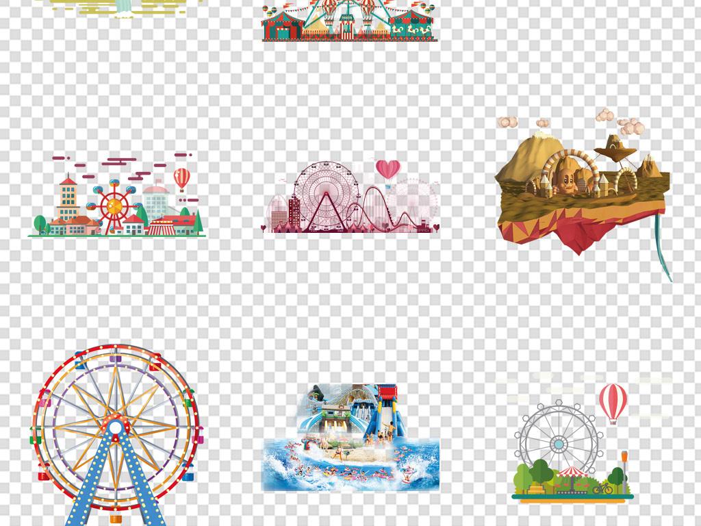 卡通游乐园游乐园设施手绘游乐园