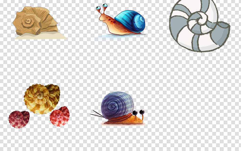 儿童画卡通手绘可爱蜗牛爬行的蜗牛虫子卡通蜗牛动物可爱