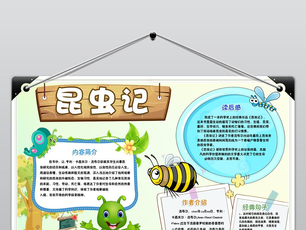 两套昆虫记小报读书阅读好书推荐卡通电子手抄报图片