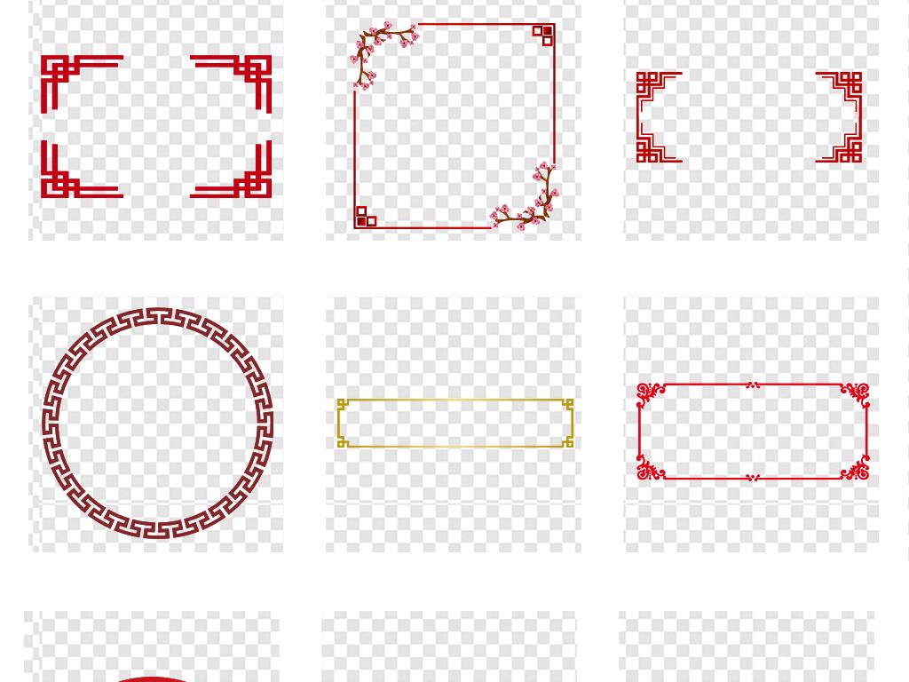 古典新中式红色花纹边框古风png素材