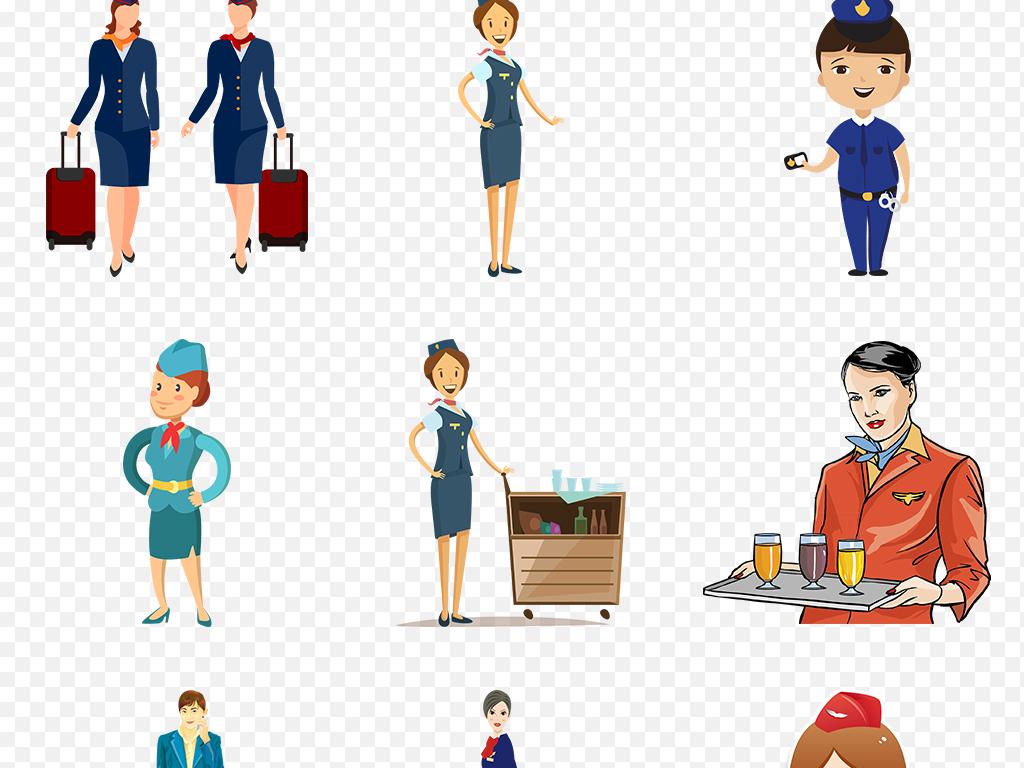 卡通手绘空姐美女海报素材背景图片png