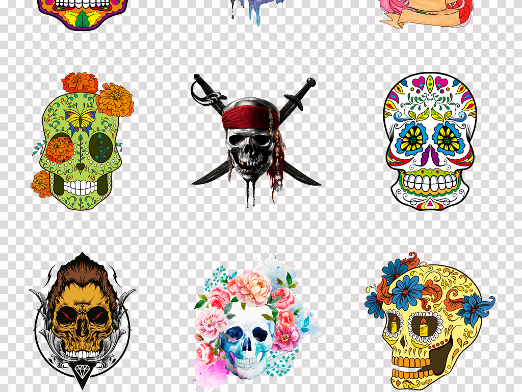 50款创意个性手绘卡通头盖骨骷髅头图腾png素材