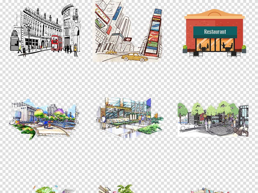 街手绘商业街彩绘商业街水彩商业街商业街速写繁荣街道繁荣商业街店铺