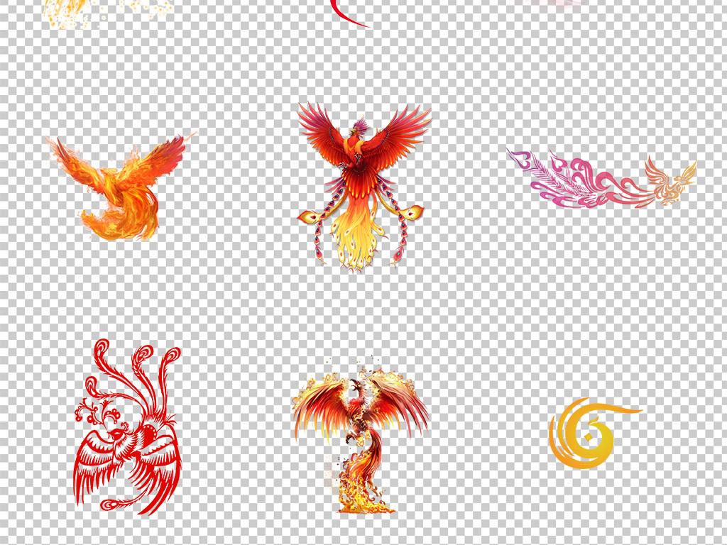 免抠元素 自然素材 动物 > 卡通手绘孔雀凤凰png透明背景免扣素材