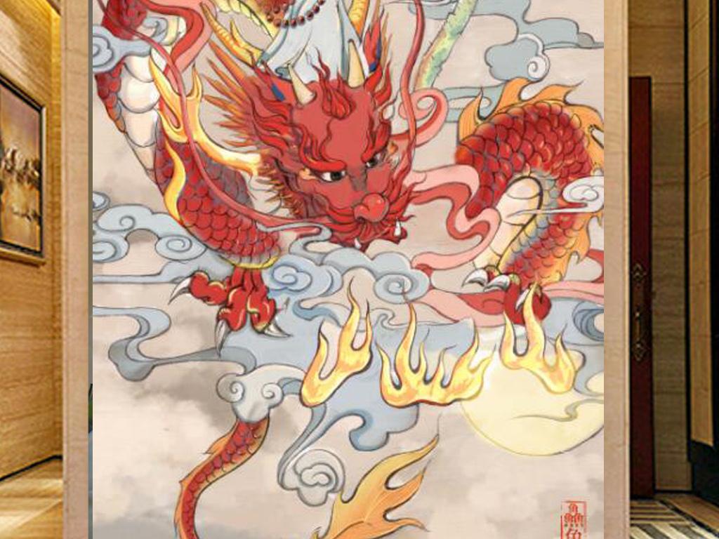 手绘中国龙莲藕玄关装饰画