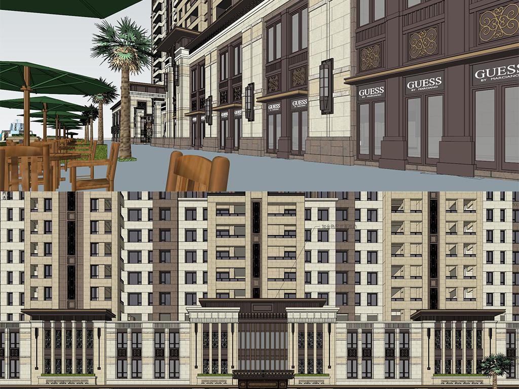 现代新古典欧式高层住宅小区建筑模型沿街商业街底商