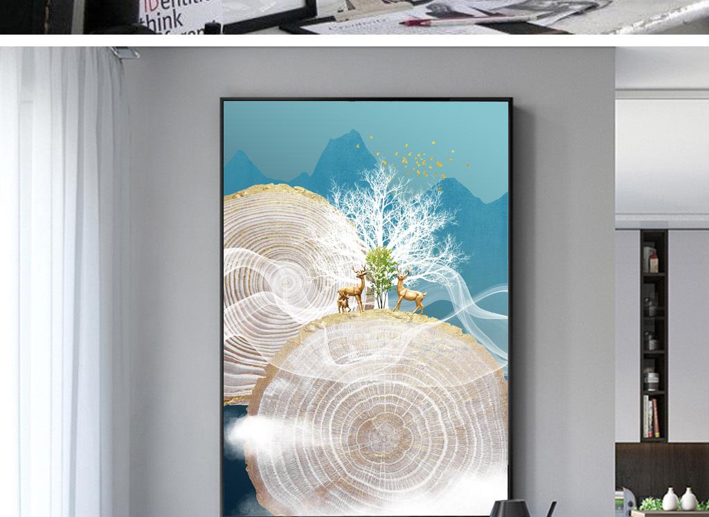 北欧现代艺术梦幻森林鹿手绘抽象玄关装饰画
