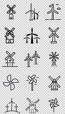 3黑白手绘卡通旋转风车荷兰风车免抠素材-TIF分层荷兰风车 TIF分层