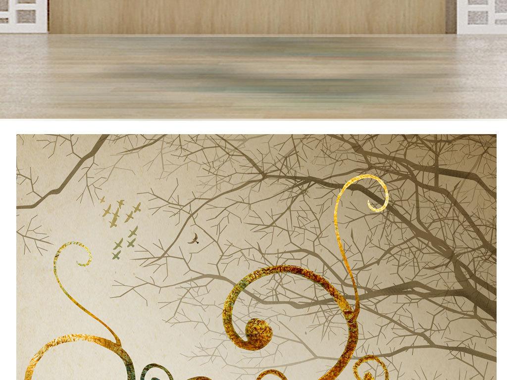 森林鹿手绘艺术玄关背景墙
