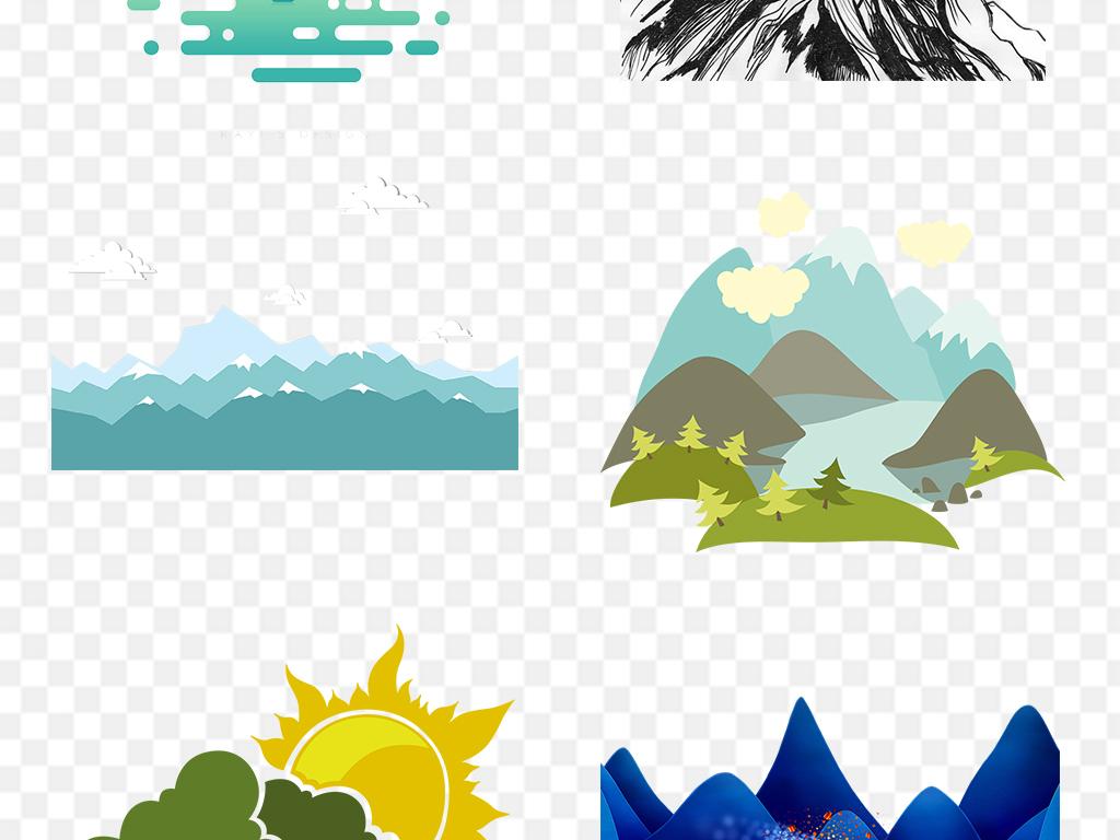 手绘卡通山脉山峰png