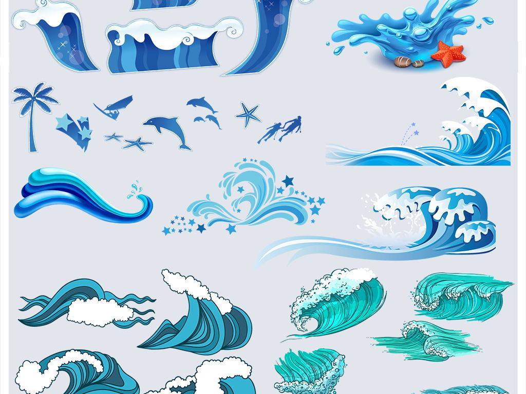 水花赛龙舟龙舟卡通浪花海浪背景素材可爱卡通海浪可爱卡通素材海水