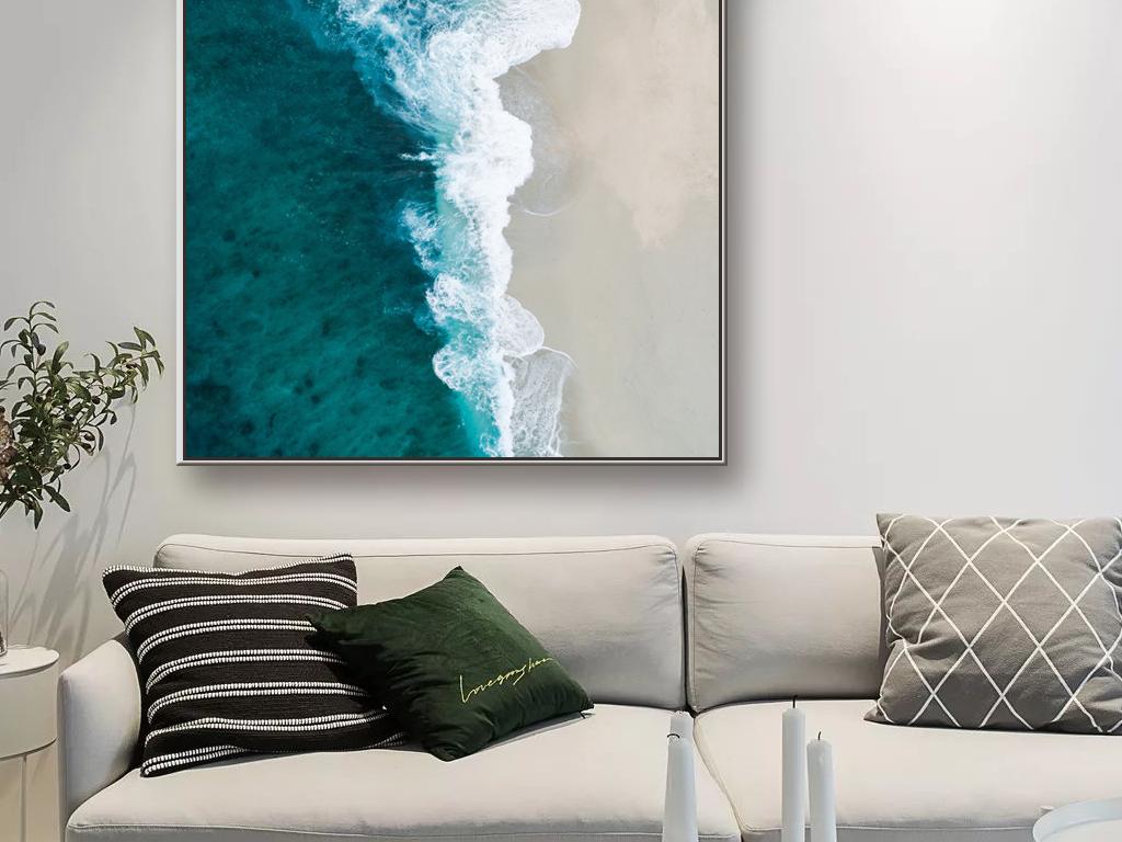 清晰北欧现代自然沙滩风景山水玄关装饰画
