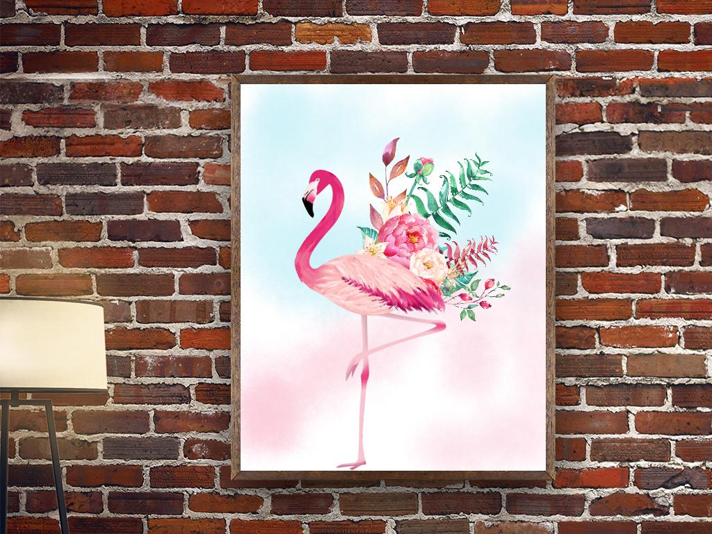 火烈鸟手绘卡通装饰画