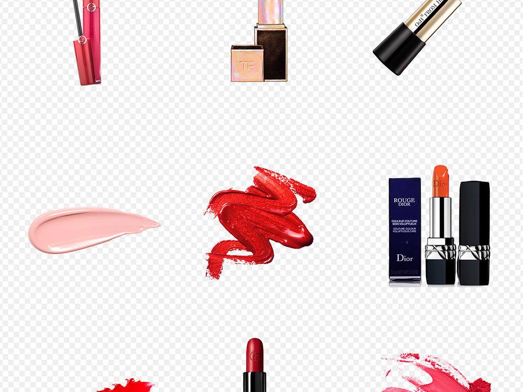 彩妆口红各色膏体笔刷化妆品海报背景png素材