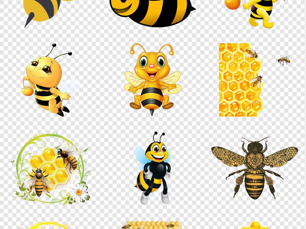 手绘卡通黄色蜜蜂图片png免抠素材