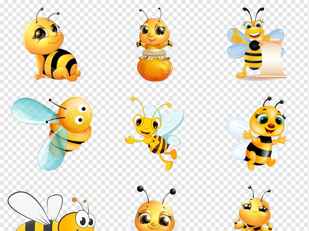 logo手绘蜜蜂蜜蜂采蜜蜂巢一群蜜蜂工蜂素材卡通图片图片png图片免抠
