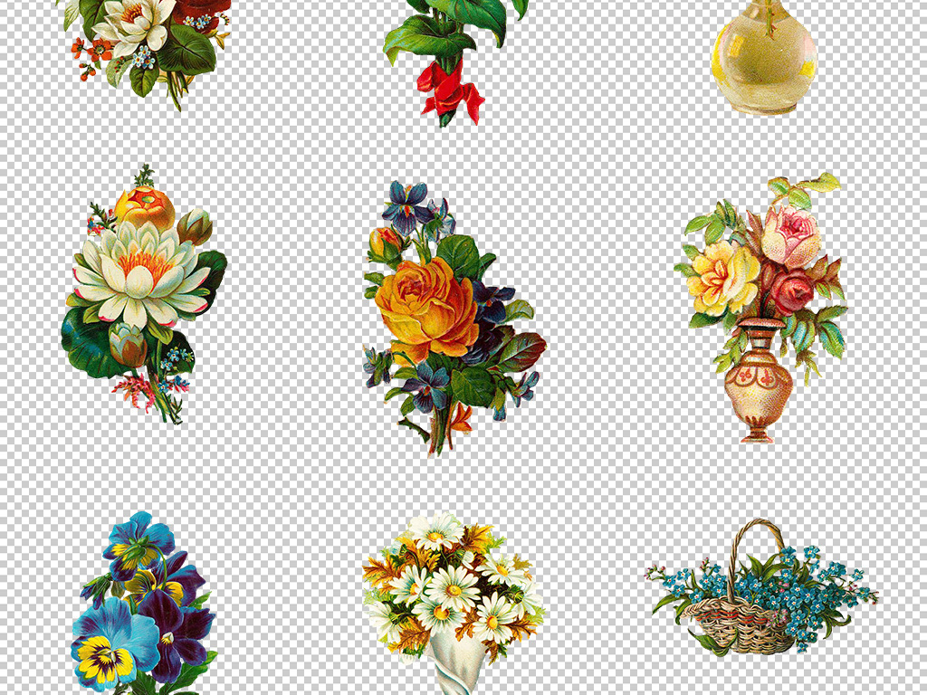 唯美手绘古典欧美花卉植物鲜花png素材