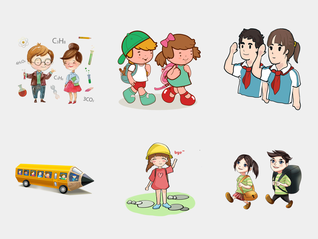 卡通儿童小学生学习上课开学季免扣海报素材图片 模板下载 56.17MB