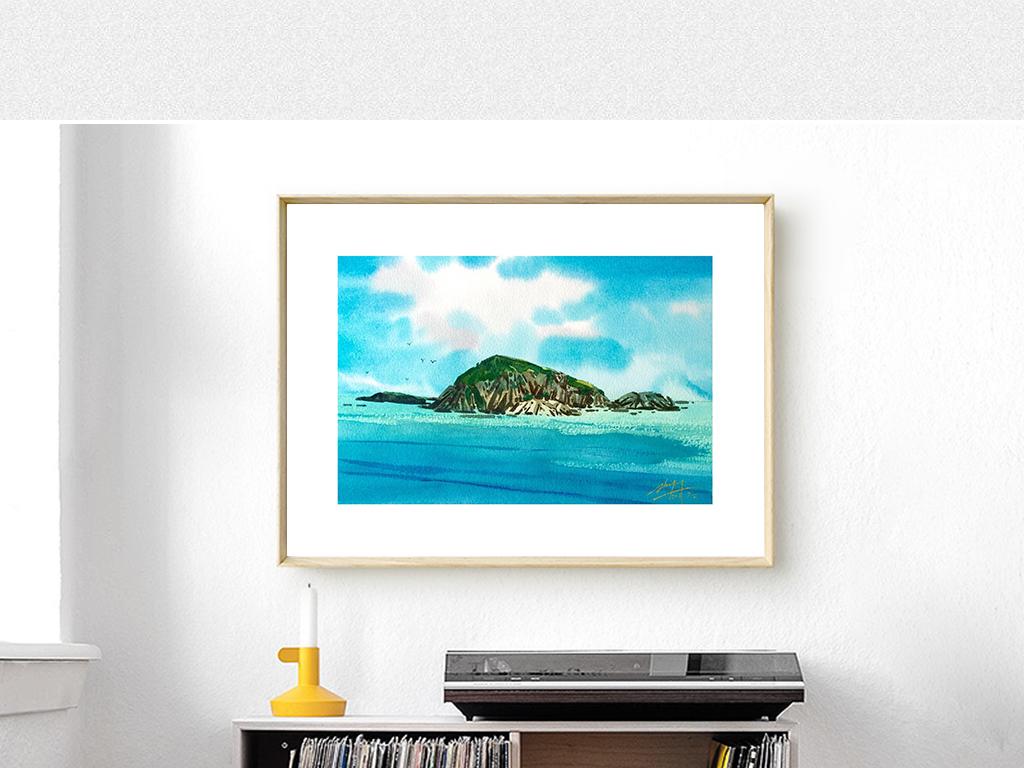现代北欧大海岛屿风景水彩画电表箱画装饰画