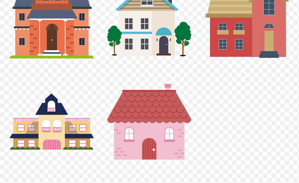 卡通树房屋卡通小房屋图片图标素材背景图片扁平化卡通素材卡通房子