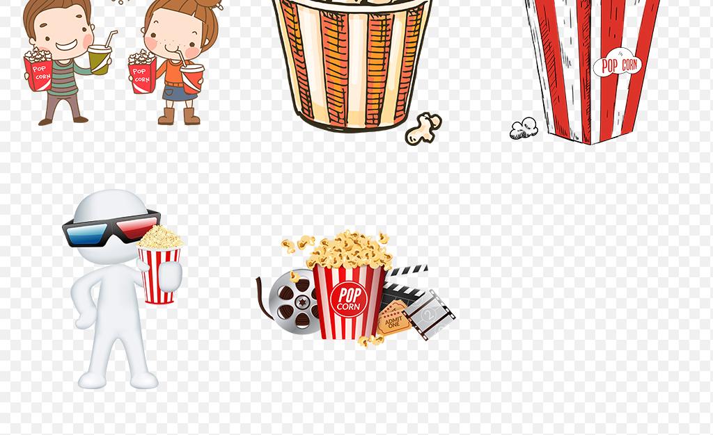 卡通爆米花电影院零食海报素材背景图片png