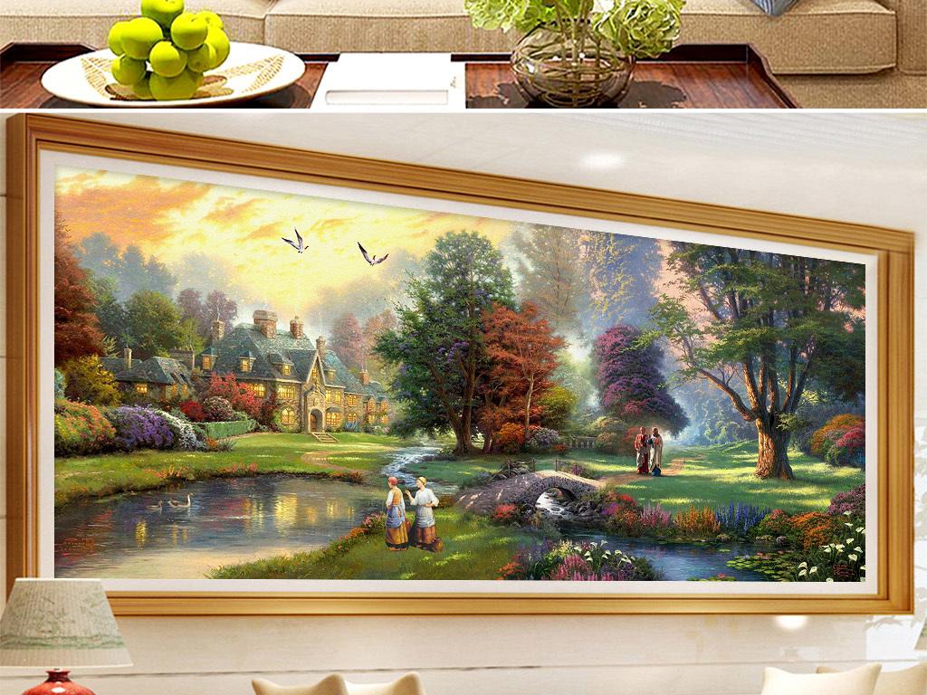 美式乡村托马斯油画风景小屋小桥田园装饰画图片设计