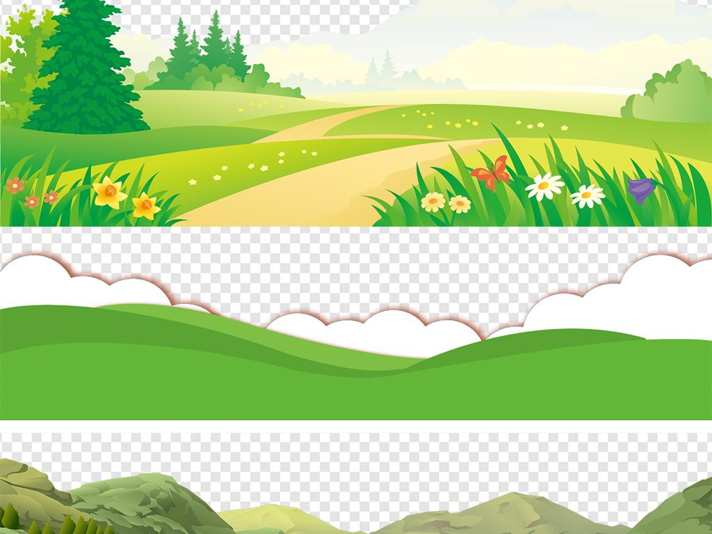 免抠元素 花纹边框 卡通手绘边框 > 绿色卡通草地草坪小草边框高清