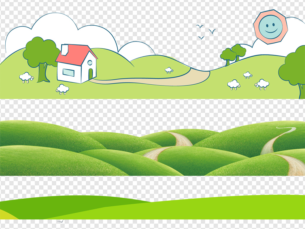 免抠元素 花纹边框 卡通手绘边框 > 卡通绿色草地草坪小草边框高清