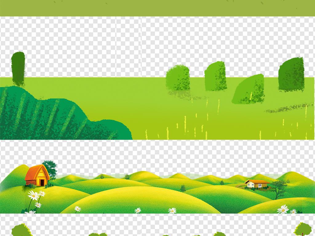 花纹边框 卡通手绘边框 > 卡通绿色草地草坪小草边框高清背景透明素材