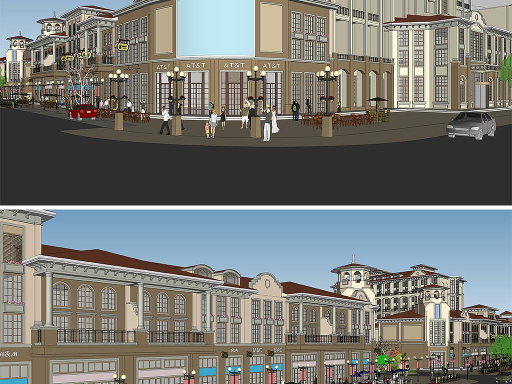 广场景观商业建筑商业综合体城市综合体欧式